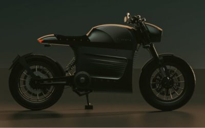 E-Motorrad aus Leinsamen, veganem Leder und recyceltem Alu
